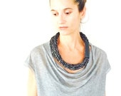 Grey wool and silver alpaca hand knitted yarn necklace leather cuff