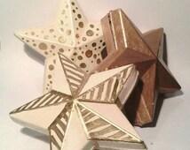 Star Trinket Boxes, Set of 3 Cardboard Trinket Boxes, candy boxes, Gold and Ivory star boxes, Gold Star Box, Ivory Star Box, Gift Boxes