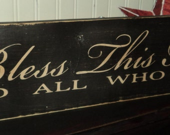 Bless This Home Inspriational Quote Wooden Wall Sign