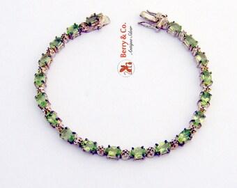 Peridot Tennis Bracelet Sterling Silver