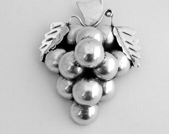 Grape Brooch Sterling Silver 1970 Dominguez
