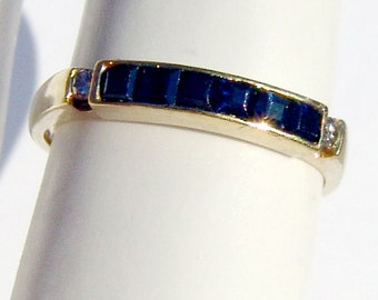 Sapphire Diamond Ring 14k Yellow Gold