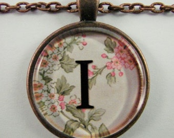 """Initial """"I"""" Necklace -- Spring pattern Personalized Letter I Necklace, Wedding Necklace, Bridesmaid Necklace, Hen Night Necklace, Friendship"""