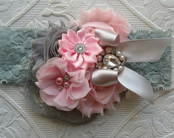 Silver Headband/Lt Pink Headband/Easter Headband/Newborn Headband/Infant Headband/Girls Headband/Baby Headband/Flower Girl Headband