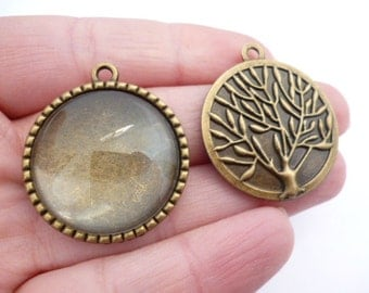 Kit Brass Cameo_PA455321BG_Base Cameo Brass Tree_with Glass Cabochon_of 25 mm_2+2 pcs