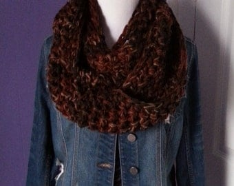 "SUPER CHUNKY Crochet Infinity Scarf-""Earth"""