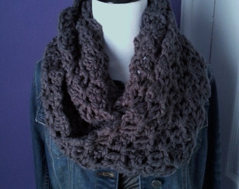 Chunky Crochet Lacy Infinity Scarf-Charcoal/Dark Gray