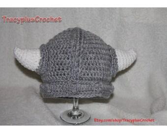 Crochet Viking Beanie. Photo Prop. Viking Hat with horns. Halloween costume. Handmade to order.