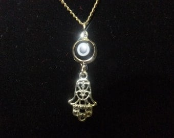 Black Eye & Hamsa Necklace