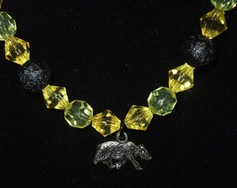 Hufflepuff Yellow & Black Necklace (H1) - Great Gift for Fans of the Books or Movies!
