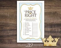 Instant Download Blue Royal Prince Price Is Right Game, Gold Glitter Prince Baby Shower Games, Printable Crown Theme Price Is Right 66B