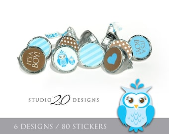 Instant Download Blue Owl Hershey Kiss Stickers, Blue Brown Baby Shower Kiss Labels, Printable Owl Chocolate Candy Sticker Sheets #23F