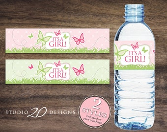 Instant Download Butterfly Water Bottle Labels, Printable Shower Wraparounds, Girl Baby Shower Water Bottle Labels, It's a Girl Labels 61A
