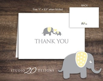 Instant Download Yellow Elephant Thank You Card, Folded Yellow Grey Elephant Baby Shower Thank You Card, Folded Yellow Elephant Card 22F
