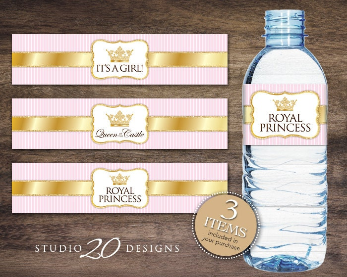 bubble bottle label template - instant download royal princess bottle labels printable gold