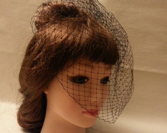 Black.Birdcage veil,top comb.Blusher veil,9 inch French/Russian Net Veil. birdcage veil,Top comb birdcage Veil,Hair accessory,
