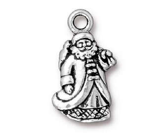 5 TierraCast Santa Claus Charms - Silver Plated Pewter St. Nick Charms - 22 mm x 12 mm