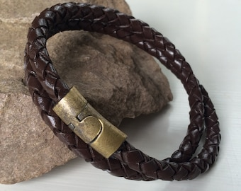Brown Braided Double Wrap Leather Bracelet with Magnetic Clasp, Leather Bangle, Brass Clasp and Brown Leather, Mens Leather Bracelet,Unisex