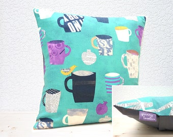 "Handmade 16""x16"" Cotton Cushion Pillow Cover in Aqua/White/Purple/Yellow Painted Cups/Mugs Retro/Abstract Collage Design Print"