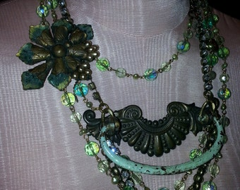 Vintage Bling with Dresser Drawer HAndle with misty greens,pearls,sparkles, and matching earrings