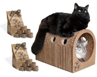 1 Original Catpod & 2 Kitty Pucks bag Deal eco friendly cardboard cat scratcher tree pet lovers furniture organic catnip toy great gift