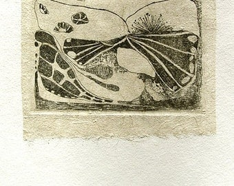 """Original etching, hand pulled, chine colle, """"Organic Fantasy"""""""