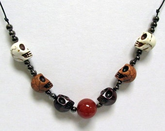 OOAK Handmade Cream Brown and Red Skulls with Red Onyx Necklace 02