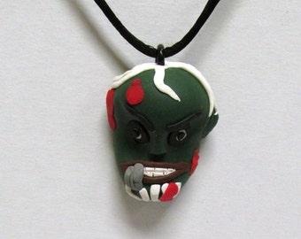 OOAK Handmade Zombie Walking Dead Pendant Necklace 12 Undead Halloween Creepy Scary