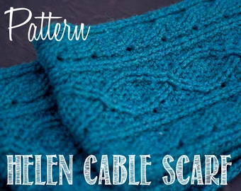 Helen Cable Scarf With Optional Lace Boarder Crochet PATTERN