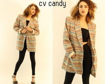 80s Tribal Stripe Blazer All Sizes / 1980s Oversized Jacket Top / Southwest Blazer