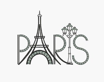 instant download embroidery  Paris eiffel tower and lamppost