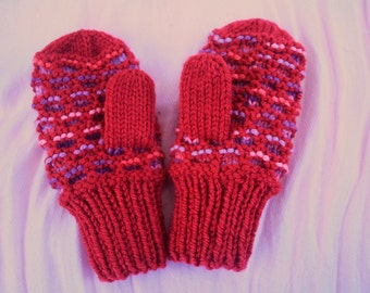 Newfoundland-Style Mittens for Little Hands - Raspberry and varigated pink and purple