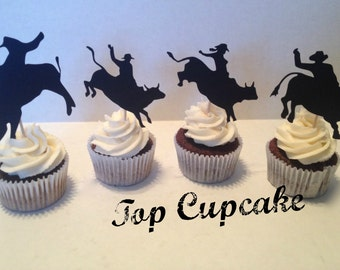 Rodeo Silhouette Cupcake Toppers -12