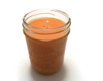 8 Oz, Half Pint Mason Jar Soy Candle - Pumpkin Spice, Wedding, Housewarming, Shower Gift, Gift Under 10