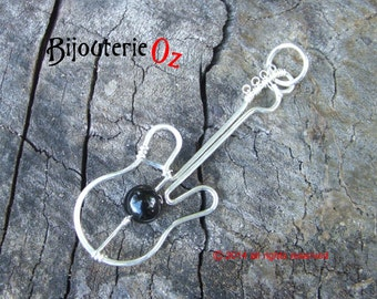 Bass Guitar Necklace, Bass Guitar, Guitar Pendant recycled silver with your choice of semi precious  bead Handmade by BijouterieOz