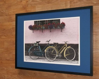 Framed and Mounted Allan Teger, Bicycles print, retro wall art - 50x70cm frame, old bicycles print