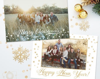 Holiday Christmas Card Template for Photographers - 5x7 Photo Card 020 - C237, INSTANT DOWNLOAD
