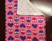 2 Owl Burp Cloths for baby girl. Unique gift
