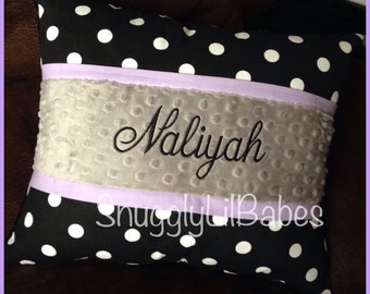 Black polka dot, lavender trim and grey minky dot personalized pillow