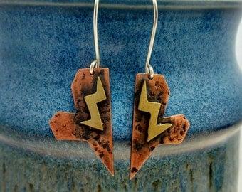 Brass lightening, battered copper heart earrings