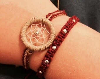 Burgundy Hemp Macrame Bracelet made with Silver Beads, Adjustable, Hemp Bracelet, Hemp Jewelry, Beaded Jewelry