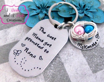 Hand Stamped Personalized Grandma/Nana/Grams key chain with Birds Nest