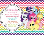 Custom, Personalized My Little Pony Rainbow Chevron Birthday Invitation with all the ponies! With or without picture/photo!