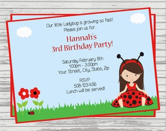 Ladybug Little Girl DIGITAL Birthday Invitation.