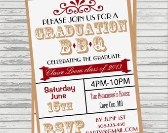 Graduation BBQ Custom DIGITAL Invitation. Can match school colors