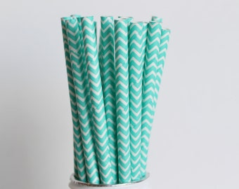 Aqua Blue Chevron Paper Straws-Blue Chevron Wedding Straws-Mason Jar Straw-Baby Shower Straws-Zigzag Paper Straws-Aqua Blue Party Straws