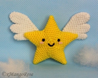 Star with Wings Amigurumi (Crochet Pattern, Digital Download), Plush, Toy, Flying Shooting Star, Guardian Angel, Shining, Wing, Kawaii, Cute