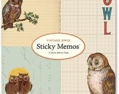 Cavallini Papers & Co. Sticky Memos, Owl Post-it Notes, Set of 3 Sticky Notes