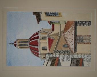 Church of the Conception La Oratava Tenerife. Original painting by Malcolm Davies