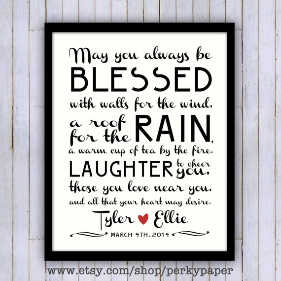 Wedding Gifts For Parents Ireland : Personalized Irish Blessing- wedding gift- anniversary gift- 8x10 ...
